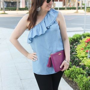 Chambray one shoulder top